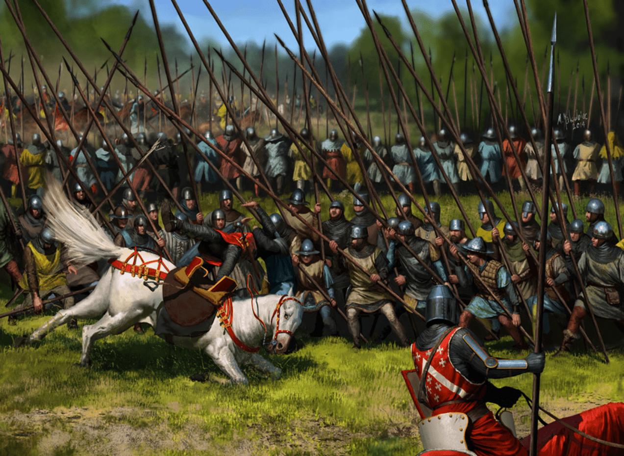 Batalla de Bannockburn 1314 Los jinetes ingleses se estrellan contra los schildrons escoceses