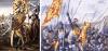 Batalla de Bannockburn 1314. Roberto Bruceformando a sus tropas el segundo día de la batalla 25 de junio.