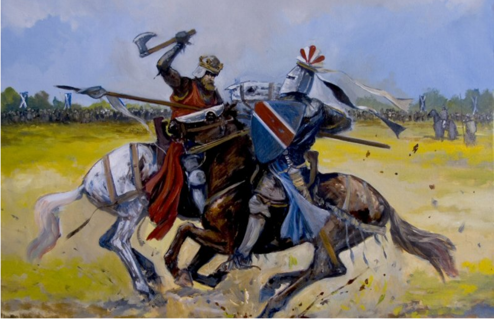 Batalla de Bannockburn 1314 Roberto Bruce mata a Henry Bohun de un hachazo en la cabeza partiendo su yelmo. Autor Jason Askew