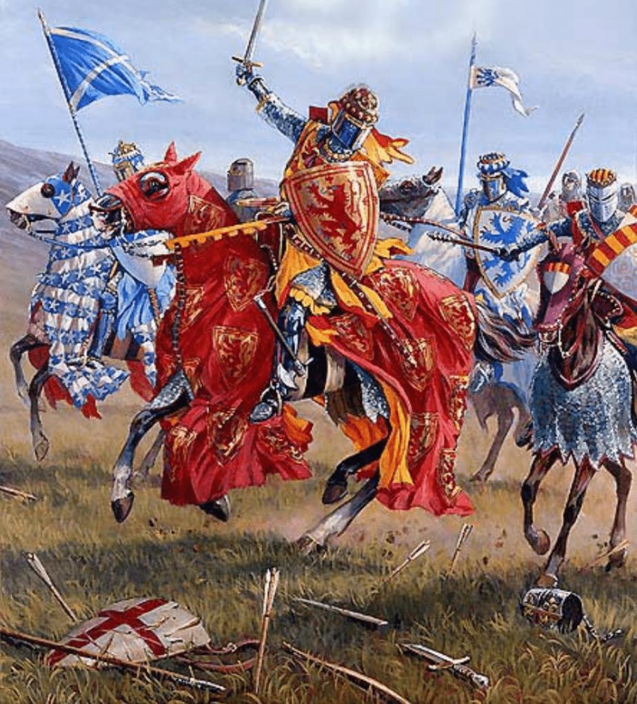 Batalla de Bannockburn 1314 segundo día la caballería escocesa persiguiendo a los ingleses