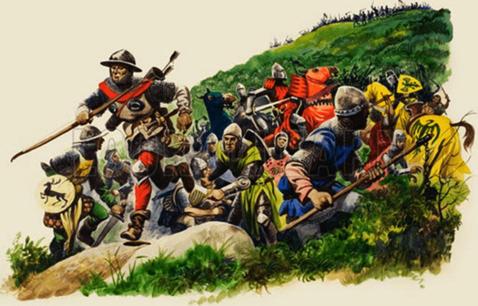 Batalla de Bannockburn 1314 , segundo día la gente del campamento o small folk se unen a la batalla. AutorPeter Jackson