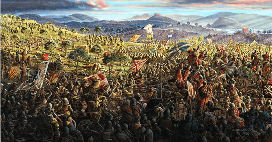 Batalla de Bannockburn 1314. Segundo día, los escoceses atacan a los ingleses. Autor Andrew Hillhouse