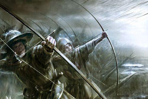 Batalla de Dupplin Moor 1.332. Balliol coloca arqueros ingleses a los flancos