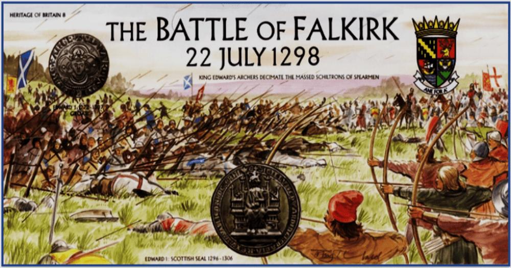 Batalla de Falkirk 1298. Sello conmemorativo. Fuente Royal Mail stamp