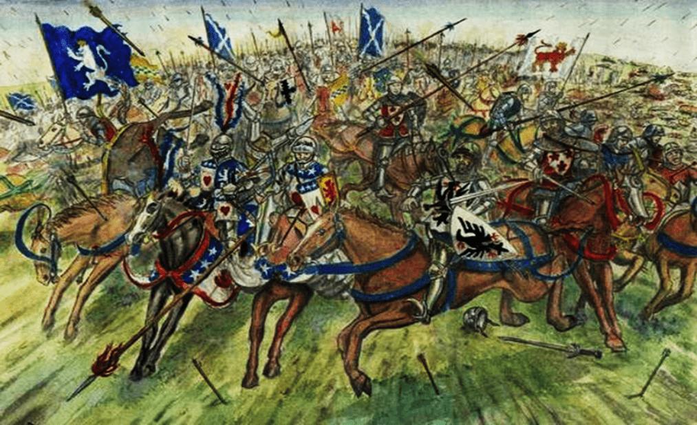 Batalla de Homildon Hill 1402. La caballería escocesa al mando de Archibald y John Swinton realizan una carga para romper el cerco. Autor Andrew Spratt