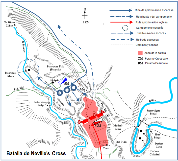Batalla de Neville's Cross 1.346. Despliegue de fuerzas