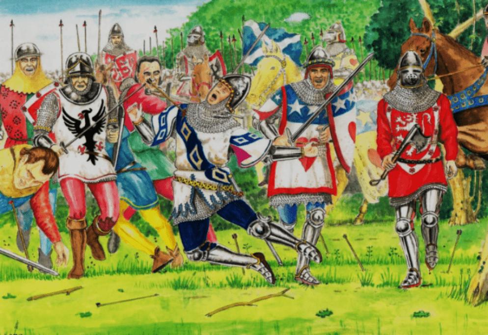 Batalla de Nisbet Moor 1402. Las fuerzas escocesas de Patrick Hepburn son emboscadas por el conde de March. Autor Andrew Spratt