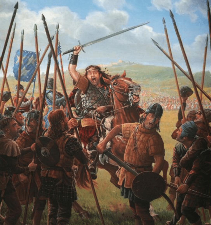 Batalla de Stirling Bridge 1297. Williams Walace arengando a las tropas antes de la batalla