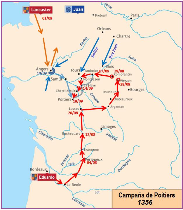 Campaña de Poitiers, cavalgada o cheveauchée antes de la batalla en 1.356