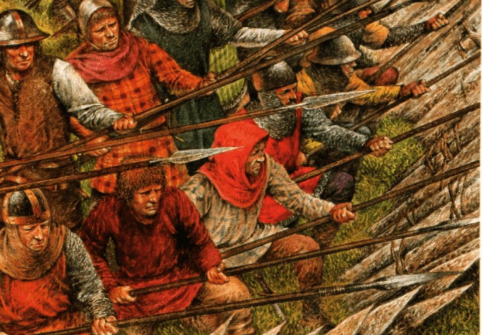 Los schildrom escoceses con sus picas hacia afuera dentro del círculo de estacas aguantan el ataque de la caballeria.