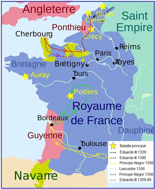 Mapa de Francia con las cevauchees o cavalgadas inglesas, así como las principales batallas entre 1.339 y 1.360
