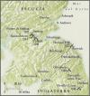 Mapa de la frontera entre Escocia e Inglaterra con las principales batallas