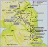 Mapa invasión escocesa del conde Douglas en el Norte de Inglaterra en 1.388