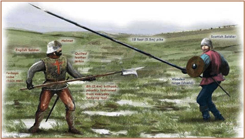 Piquero escocés frente a un alabardero (billman) inglés. los escoceses llevaban una pica de 5,5 metros, mientras que el billhook inglés solo tenían 2,5