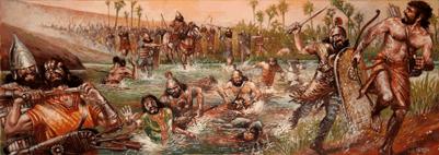 Batalla del río Ulai o de Tel Tuba 665AC. Los elamitas son empujados contra el río por los asirios
