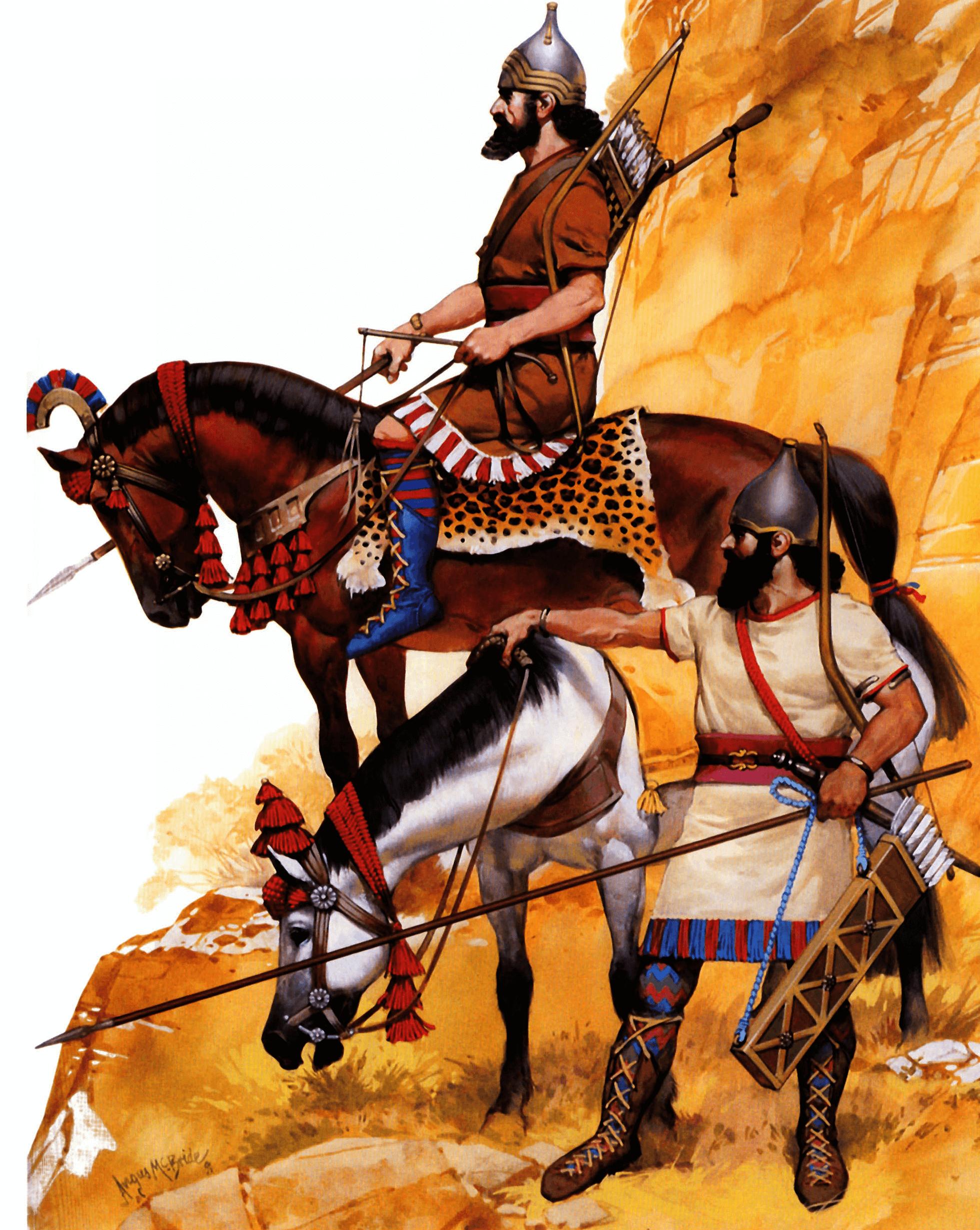 Caballería sargonida en Urartu 714 AC. Asirios arqueros lanceros. Están equipados con botas atadas delante y llevan calcetines. Autor Angus McBride para Osprey