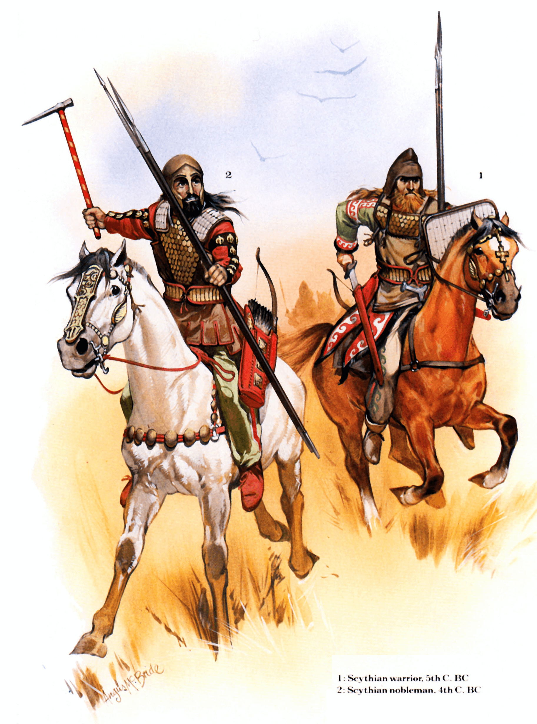 Jinetes escitas siglo V AC: 1 Guerrero escita 2 Noble escita o nomarchos. Autor Angus McBride para Osprey