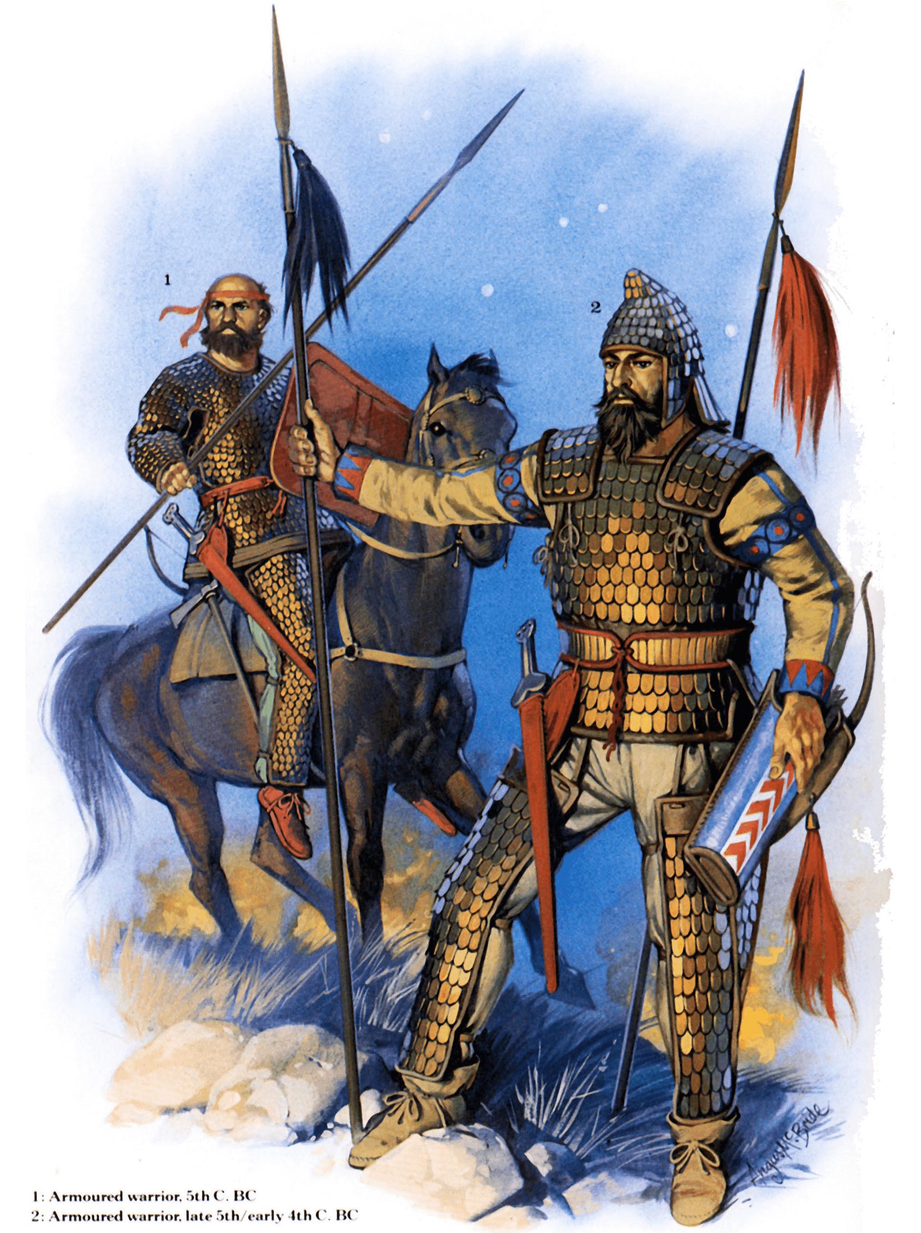 Jinetes pesados escitas siglo V AC: 1 guerrero escita norte de Ucrania; 2 Noble escita, ambos llevan leggins protegiendo las piernas, se nota la influencia de los sármatas. Autor Angus Mcbride para Osprey